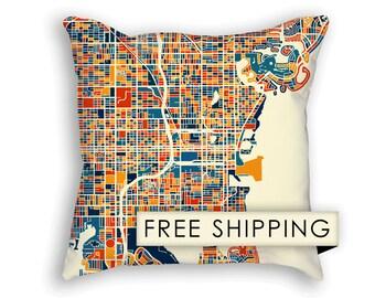 St Petersburg Florida Map Pillow - Florida Map Pillow 18x18