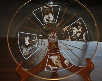 Vintage Retro Platter - Glass w / gold and white paintings