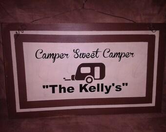 Camping Primitive Wood Sign