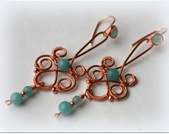 Earrings amazonite copper wire jewelry