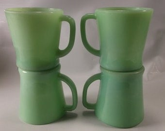 Jadite Green D Handle 4 VTG Anchor Hocking Fire-King Jadeite  Coffee Cups Mugs.epsteam