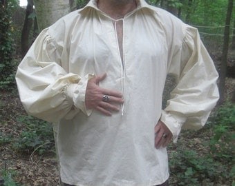 Mens Renaissance Pirate Shirt Custom Fit to Order  size Xsmall to Xlarge MUSLIN Cream Fabric