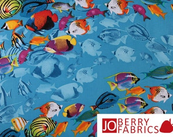 Reef Quilt or Craft Fabric by Timeless Treasures, Brightly Colored Fish, Fabric by the Yard