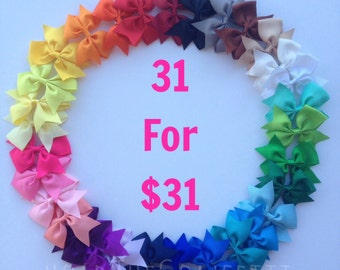 READY TO SHIP / Set of thirty one 3.5 to 4 inch hair bow clips / Baby Bows / Toddler hair bows / one dollar bows