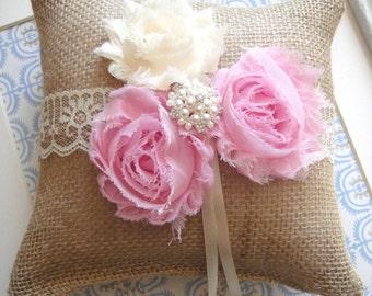 Rustic Ring Pillow In Pink, Weddings, Ring Bearer Pillow, Bride, Burlap Ring Pillows