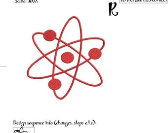 Atom Embroidery Design, science celebration, scientific geeky love, physics,