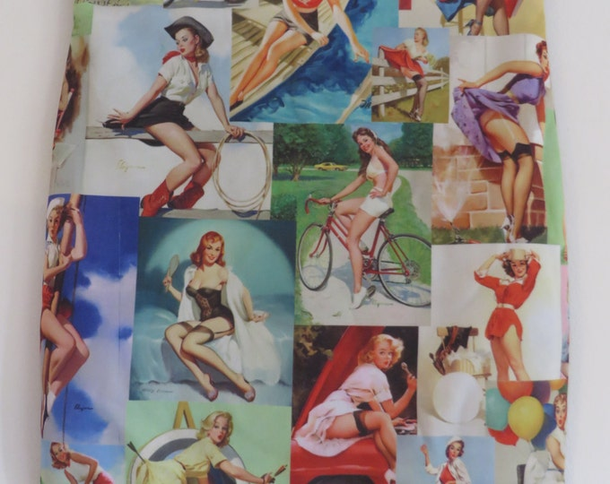 Vintage Pin Up Girl Montage Skirt - Size 8 10 12 14 - Mini Digital Print Retro 50s Retro