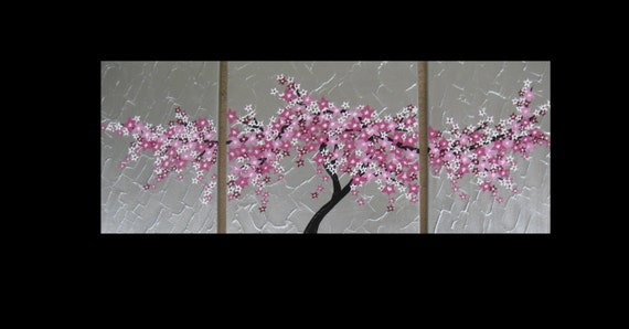 Items similar to large 3 canvas cherry blossom painting for Cherry blossom canvas painting