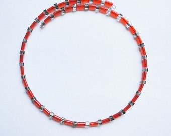 Necklace Glassbeads red & grey