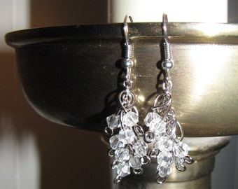 Clear Bead and Silver Chain Dangle Earring