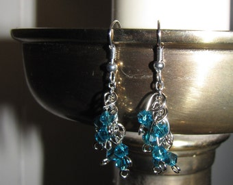 Blue Bead and Silver Chain Dangle Earring