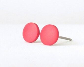 Red studs, matte red earrings, unisex earrings, matte red studs, red posts, red stud earrings, mens earrings, mens studs