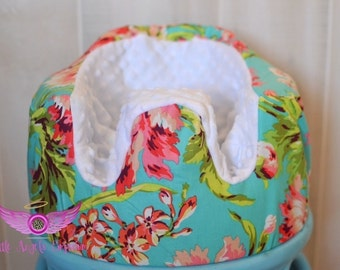 Amy Butler Bliss Bouquet in Teal and White Minky Bumbo Seat Cover