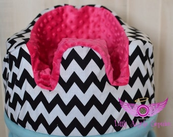 Black and White Chevron and Pink Bumbo Seat Cover