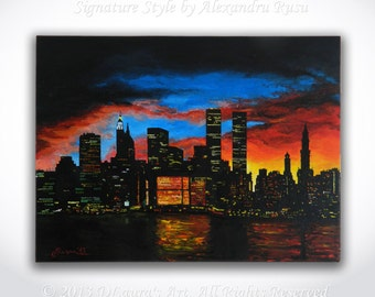 New York City ORIGINAL Painting - Contemporary Art NYC Skycraper Cityscape Art New York Oil Painting Artwork on 16x12 Canvas by Alex Rusu