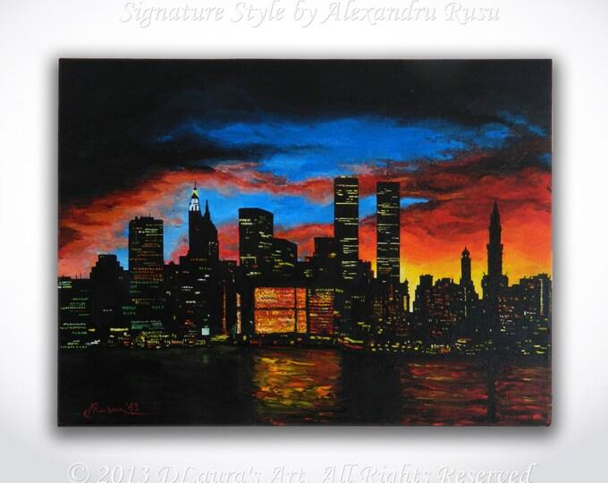 Featured listing image: New York City ORIGINAL Painting - Contemporary Art NYC Skycraper Cityscape Art New York Oil Painting Artwork on 16x12 Canvas by Alex Rusu