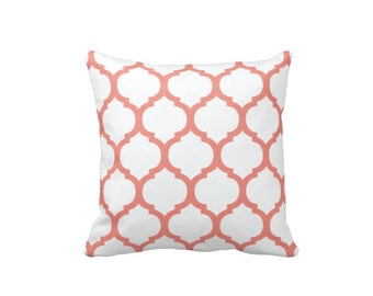 Custom Quatrefoil Throw Pillow & Cover-White-Coral OR Customize with ANY Colors-Available in 14x14-16x16-18x18-20x20-14x20-26x26-Bedding-Bed