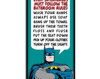 Bathroom decor superhero batman b athroom rules 9 quot x 20 quot gallery