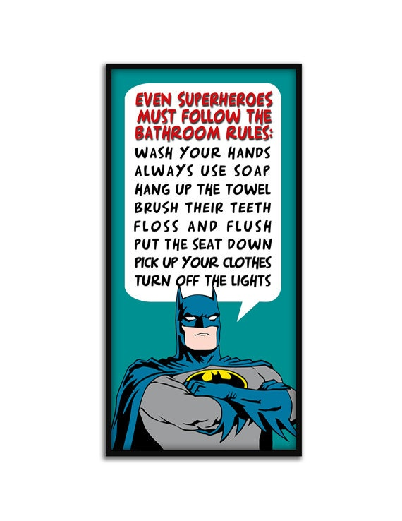 Items similar to bathroom decor superhero batman for Batman bathroom ideas