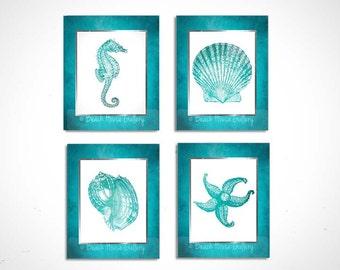 Teal Wall Art Set of 4 Prints, Turquoise Teal White, Seahorse Print, Starfish, Seashell Wall Art, Teal Bathroom, Modern Beach House Decor