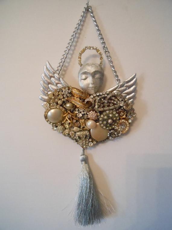 Angel Statue, Angels Wall Decor, Angel Sculpture, Mixed Media Wall Art, altered art, ooak angel assemblage