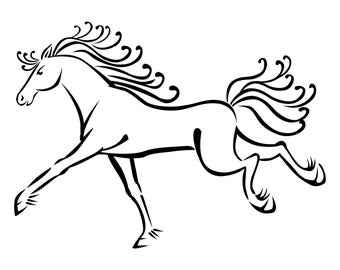 Detailed Whimsical Galloping Horse Wall Decal
