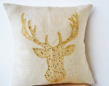 Deer Pillows - Animal pillow with stag embroidered in gold sequin -Burlap pillows -Gold Moose pillow - Gold pillows- Wedding Gifts 26x26