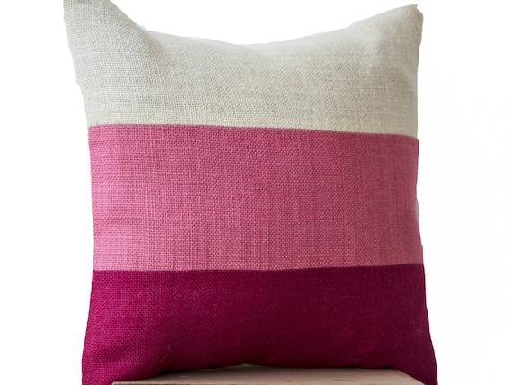 Etsy Pink Throw Pillow : Items similar to Chic Pink Burlap Pillow -Throw Pillows color block- Decorative pink cushion ...