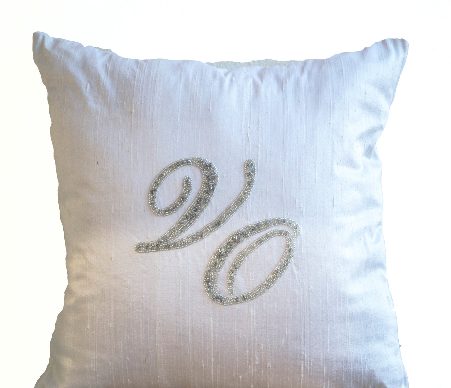 Custom Throw Pillow Cases : Monogram Silk Pillow Case Personalized Throw Pillow Silver