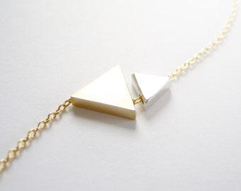 Dainty Geometric Two Triangles Bracelet in Gold and Silver