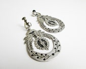 Long Signed 1930s Taxco Sterling Art Deco Earrings, Carmen Miranda Style, Hallmarked A.F.G., Silver 925, Mexico.