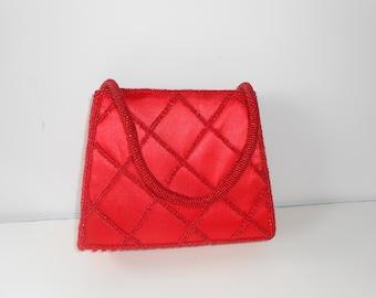 Red Evening Bag Beaded  Red Handbag Glamorous EB-0194