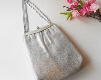 Silver Evening Bag Mid Century Silver Handbag Hollywood Glamour EB-0164