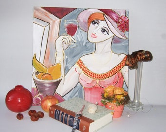 "Contemporary Portrait Painting Woman in Hat with wine and fruits art KSAVERA ""Inga"" 16x16 Original Lady Girl Cubism for girls room"