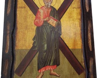SAINT ST. ANDREW - The Αpostle - Orthodox icon on wood handmade (22.5cm x 17cm)