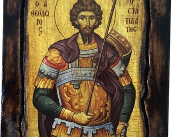 Saint St. Theodore - Stratelates - Orthodox Byzantine icon on wood handmade (22.5 cm x 17 cm)