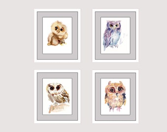 Owl Set 1 - Animal Paintings  - 4x  8x10inchs - Watercolor  Paintings - Nursery Art Prints