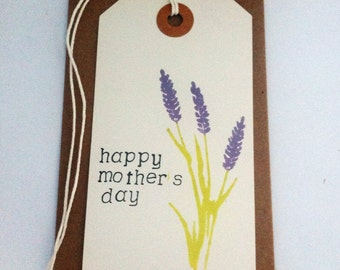Mother's Day card // happy Mother's Day- flower // gift tag shaped card // card and envelope