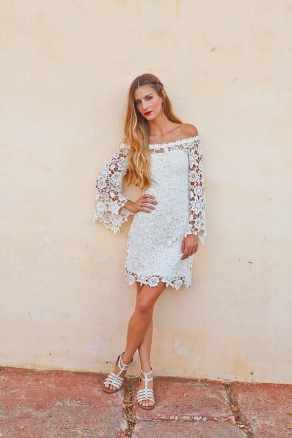 Bell Sleeve Crochet Lace Dress Off Shoulder Neckline Boho