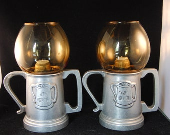 Vintage metal and yellow glass candle holders (2 candle holders).