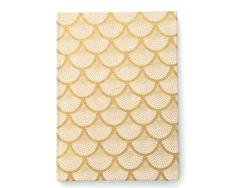 Handmade hardcover notebook journal sketchbook with gold geometric pattern A5