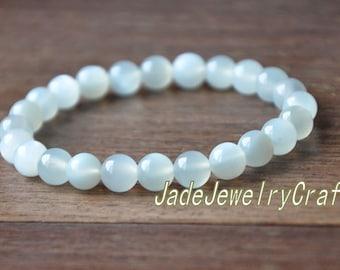 Grade AAA Natural white Jadeite Jade beads charm beaded prayer bead  Bracelet,round bracelet,elastic Bracelet