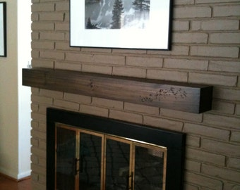 Floating modern rustic fireplace mantel.