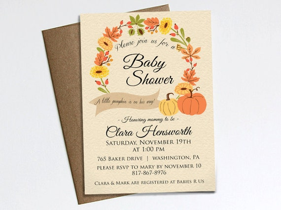 Autumn Baby Shower Invitation - A little pumpkin is on the way! Printable invitation