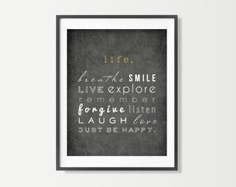 Inspirational Art Print - Motivational Decor - Just Breathe Live Smile Love - Motivational Words - Black & White Wall Art Typography Poster