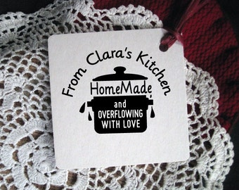 Custom Gift Tag Rubber Stamp, From Kitchen of,  Clara's Kitchen