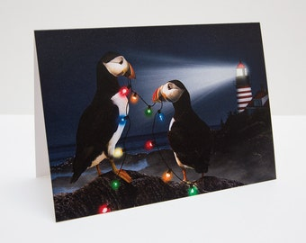 Puffins Christmas / Holiday Photo Greeting Card
