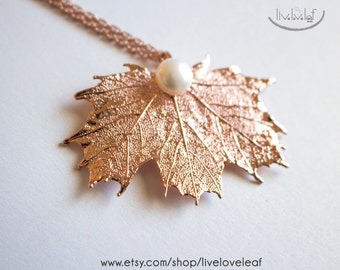 Rosegold Sugar Maple Leaf Necklace, Rose Gold Sugarmaple Pendant with Pearl, Real Leaf Necklace, Preserved Nature, Mothers Day, Gift Idea