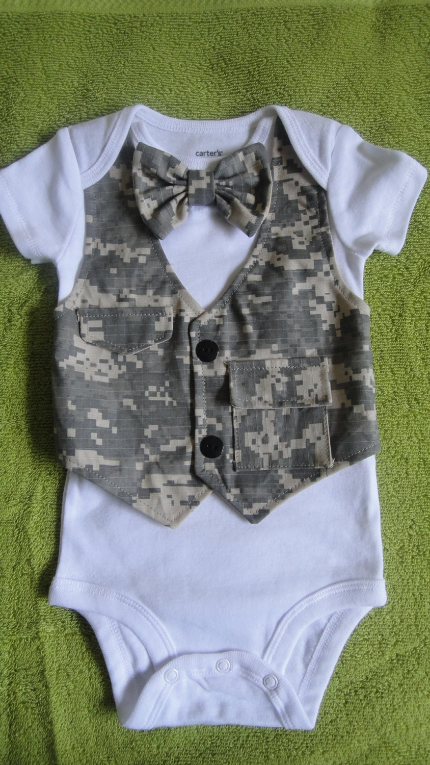 Baby Boy Military Army Onsie Bow Tie Outfit Vest Photo Prop