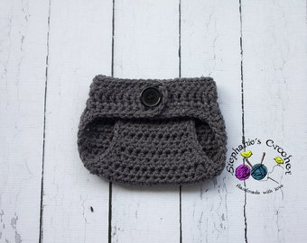 Crochet grey diaper cover photo prop for baby boy diaper cover photography photo prop - MADE TO ORDER